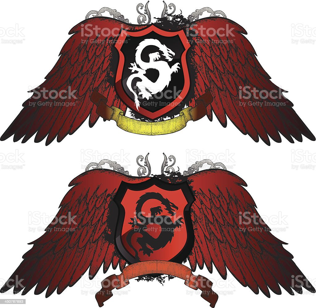 Dragon Grunge Shield royalty-free stock vector art