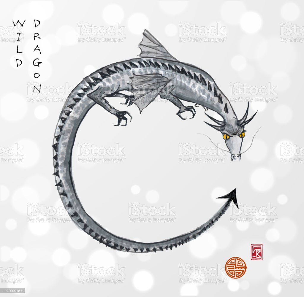 Dragon hand-drawn with ink. vector art illustration