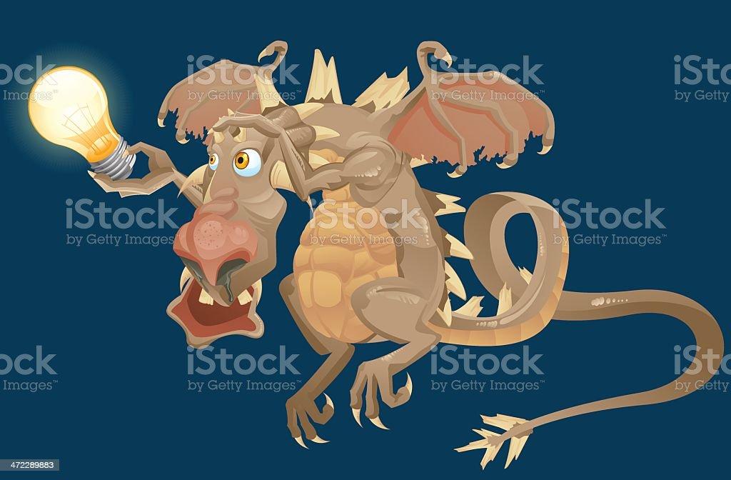 dragon holding lightbulb royalty-free stock vector art