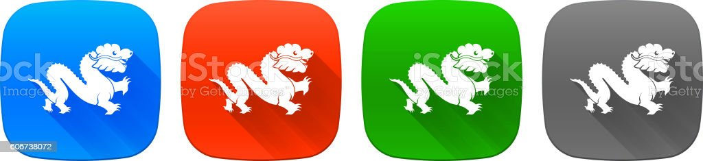 Dragon Icon Set on Flat Color Buttons. vector art illustration