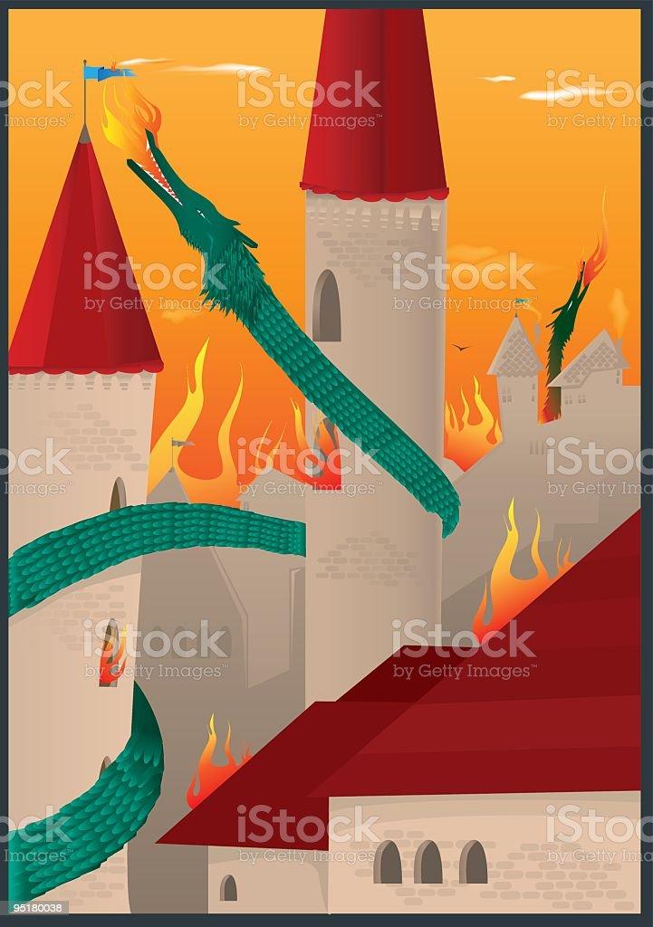 dragon invasion royalty-free stock vector art