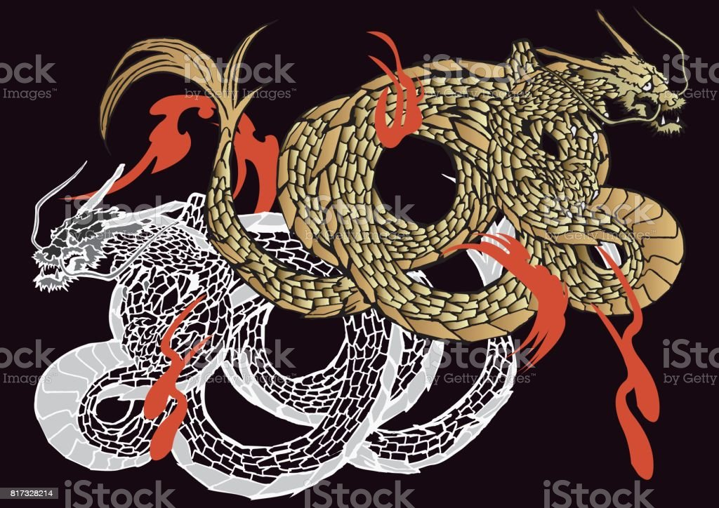 Dragon Japanese pattern vector art illustration