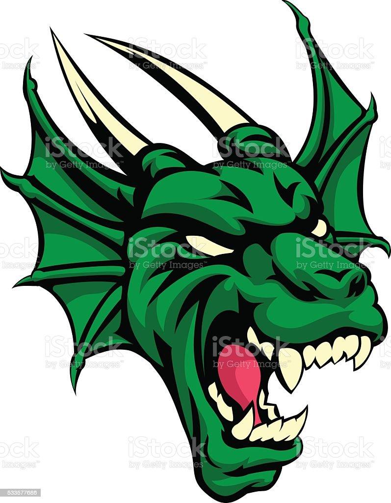 Dragon Mean Animal Mascot vector art illustration
