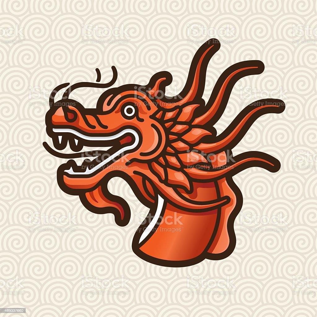 Dragon red head vector logo - illustration vector art illustration