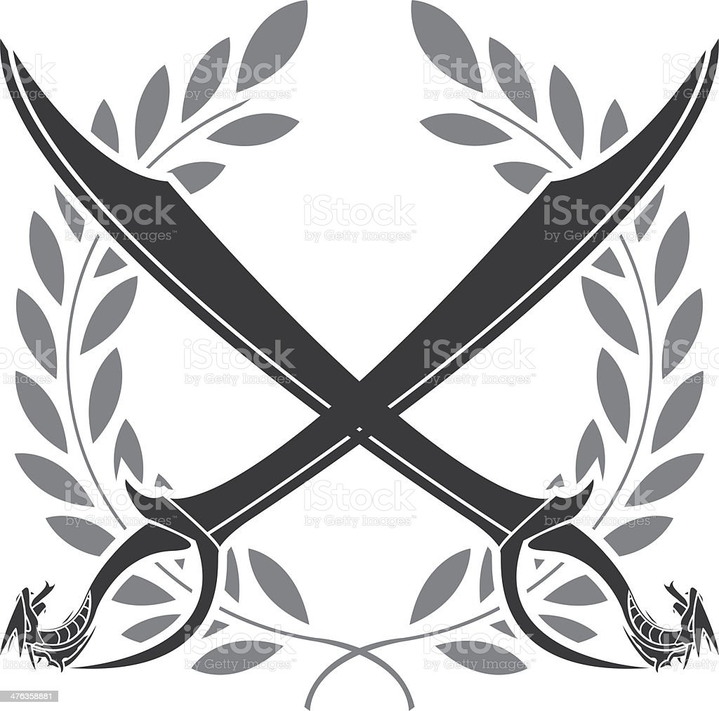 dragon sabers and laurel wreath royalty-free stock vector art