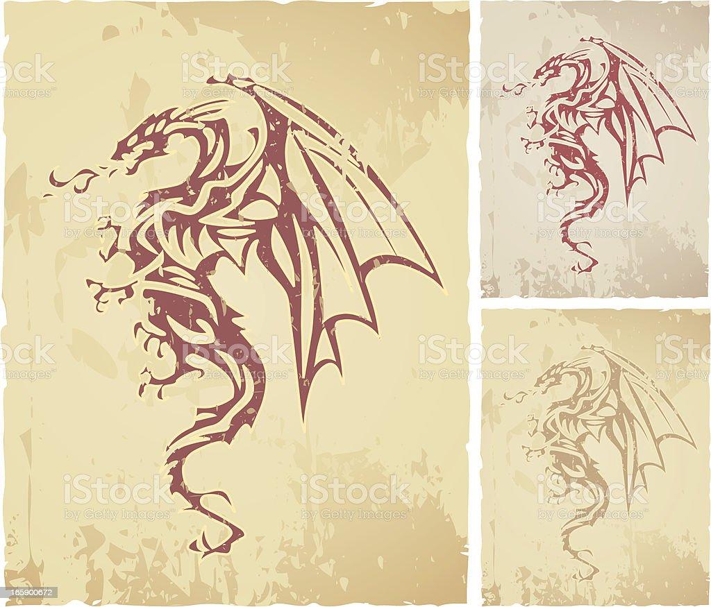 Dragon Scroll vector art illustration