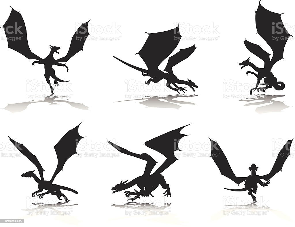 Dragon Silhouette Collection royalty-free stock vector art