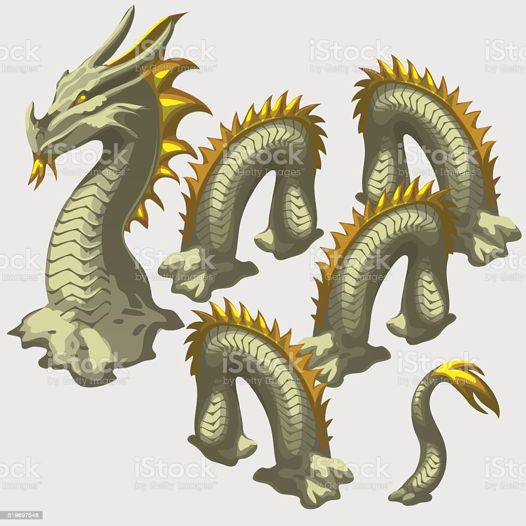 Dragon snake head and body elements vector art illustration