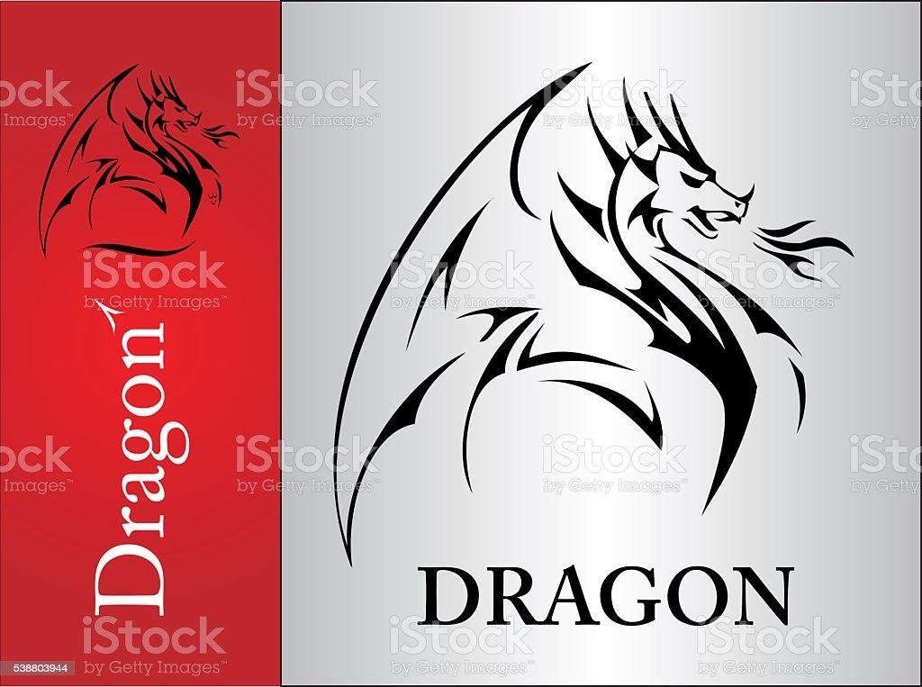Dragon, spreading its wing vector art illustration