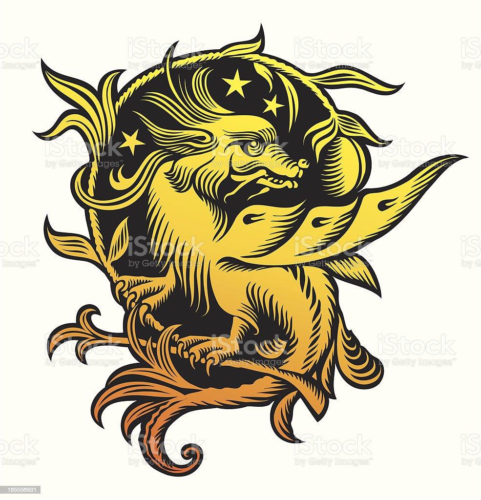 Dragon tattoo style. Three stars. royalty-free stock vector art