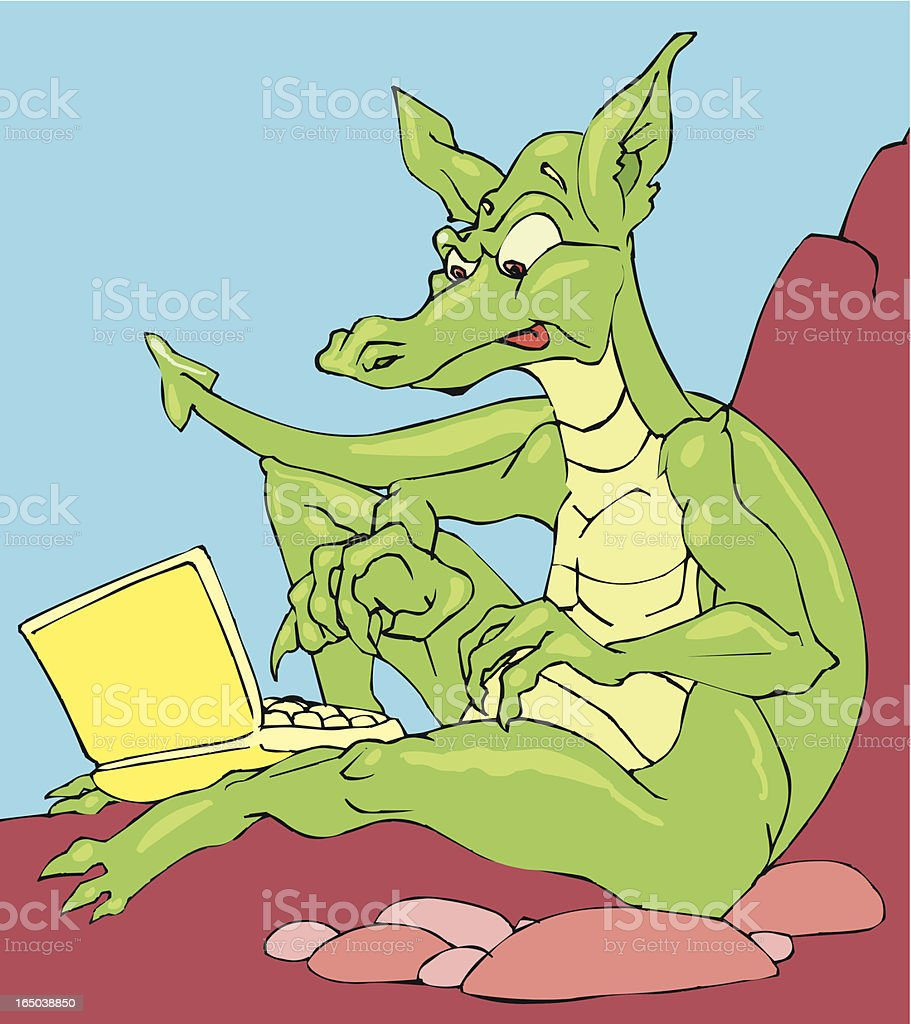 Dragon with laptop computer royalty-free stock vector art