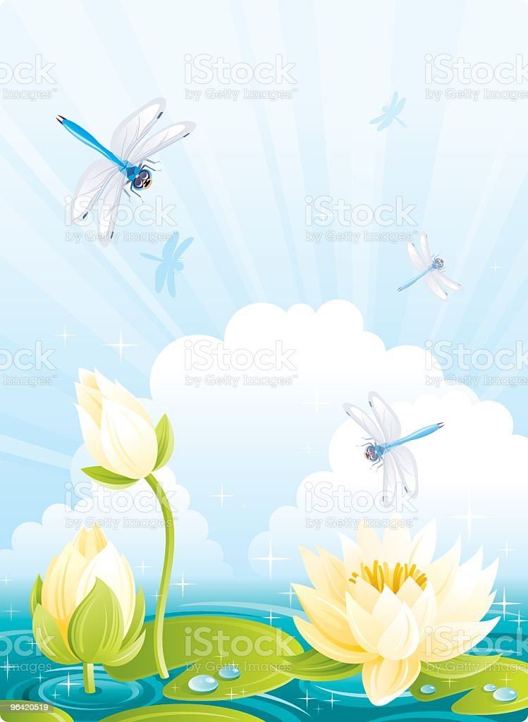 Dragonflies and Water Lilies with Clouds royalty-free stock vector art