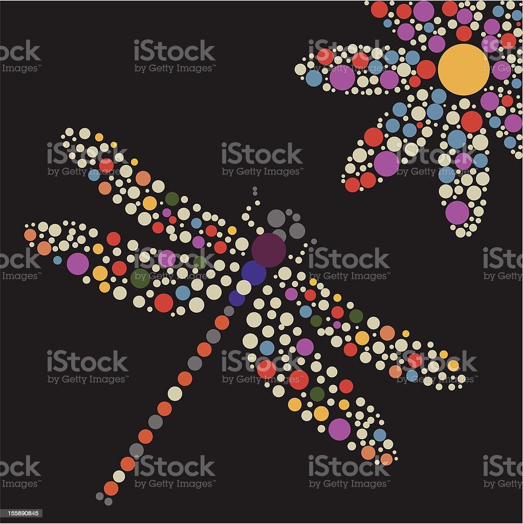 dragonfly and flower vector art illustration