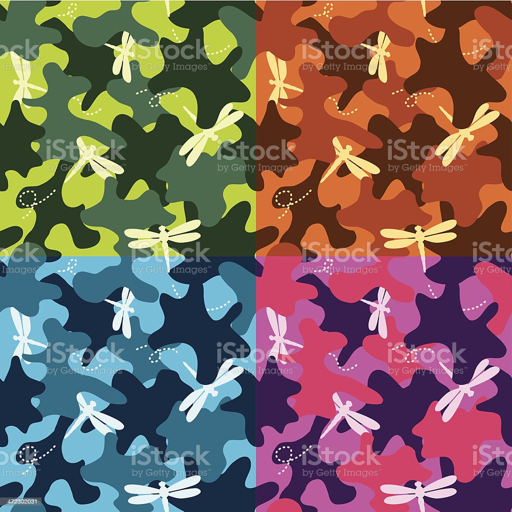 Dragonfly Fancy Camo Seamless royalty-free stock vector art