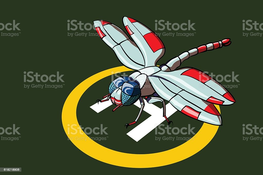 Dragonfly like plane on the helicopter landing pad vector art illustration