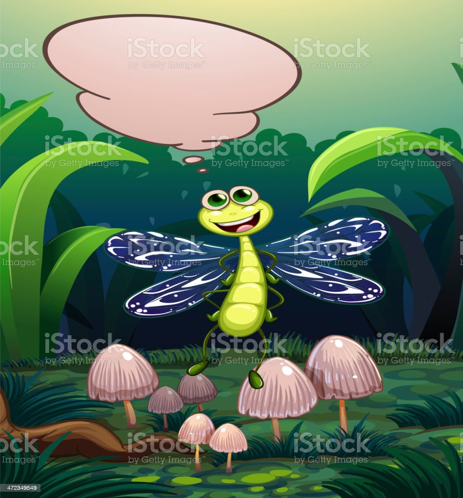 dragonfly near the mushrooms with an empty callout royalty-free stock vector art