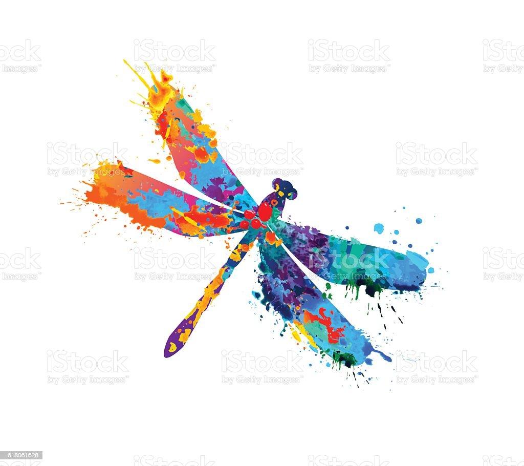 dragonfly of splash paint vector art illustration