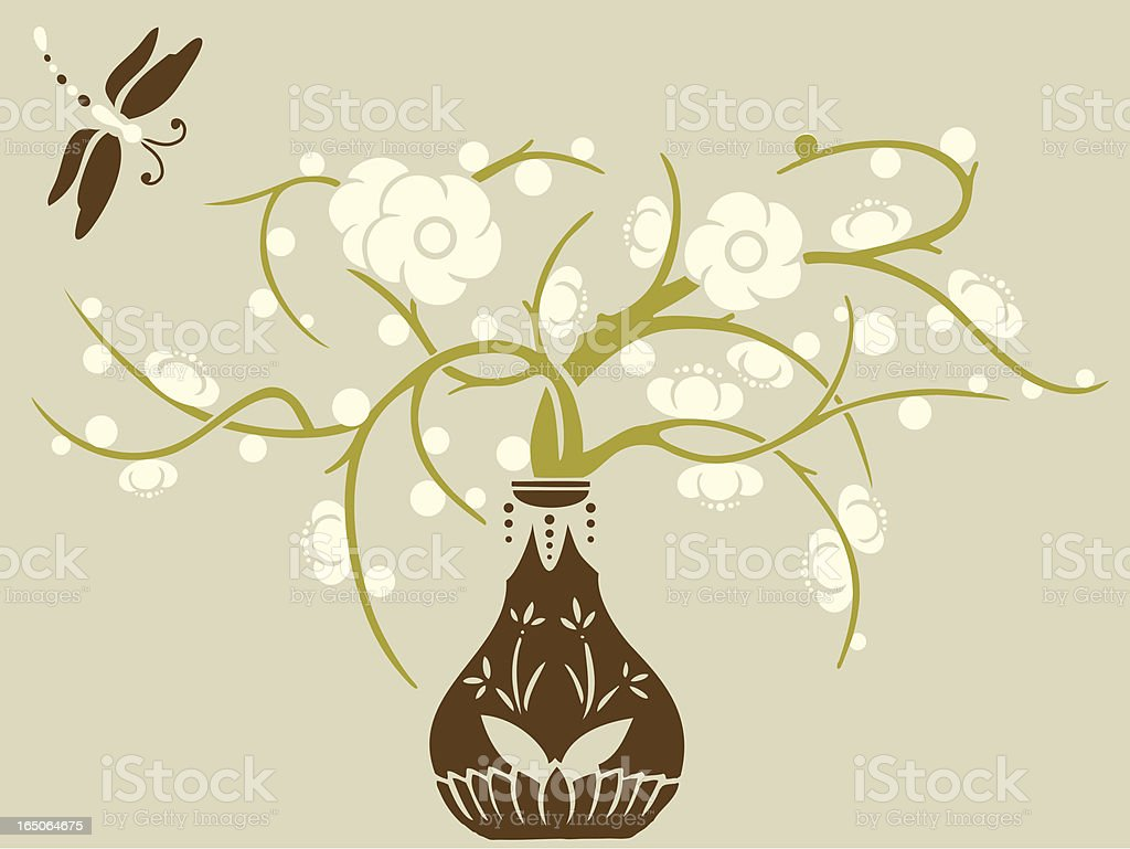 Dragonfly & Plum Blossom royalty-free stock vector art