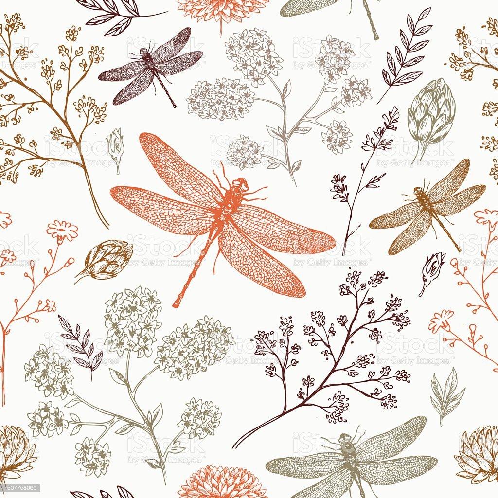 Dragonfly seamless pattern. Fern botanical background. Vector illustration vector art illustration