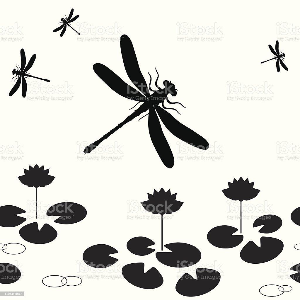 Dragonfly seamless vector art illustration