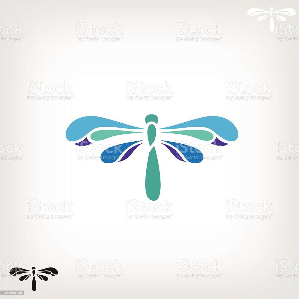 Dragonfly silhouette on light background vector art illustration