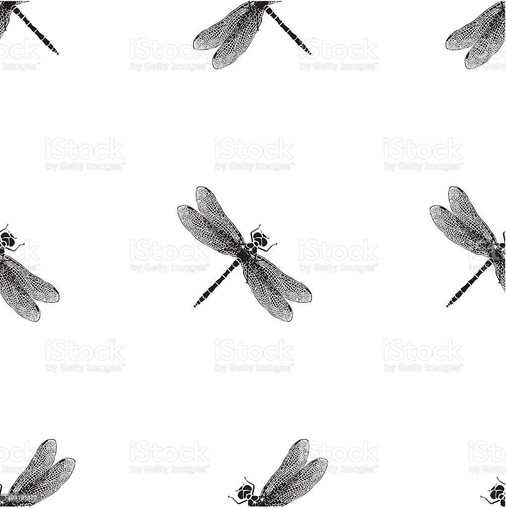 Dragonfly vector pattern vector art illustration