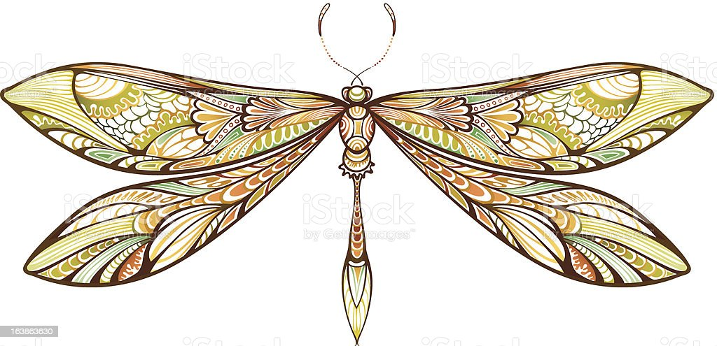 Dragonfly with different colors of yellow and green vector art illustration