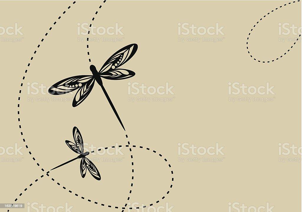 dragonflys vector art illustration
