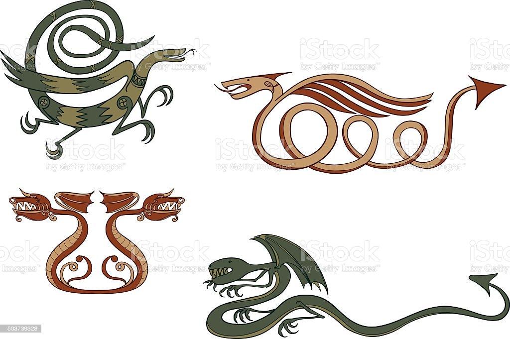 Dragons vector art illustration