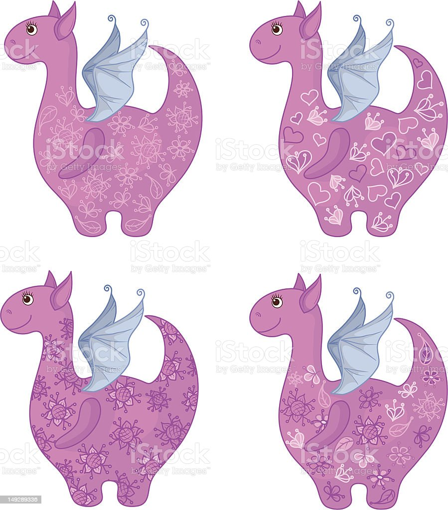 Dragons with patterns royalty-free stock vector art