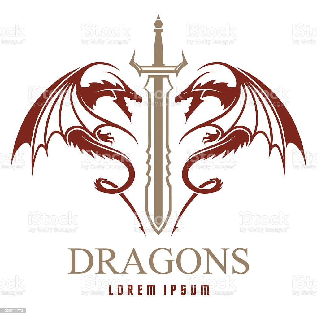 Dragons with sword logo template vector art illustration