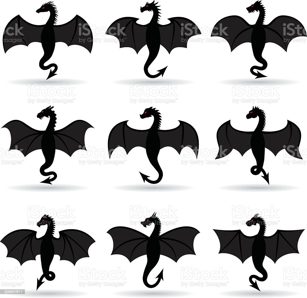 dragons with wings vector art illustration
