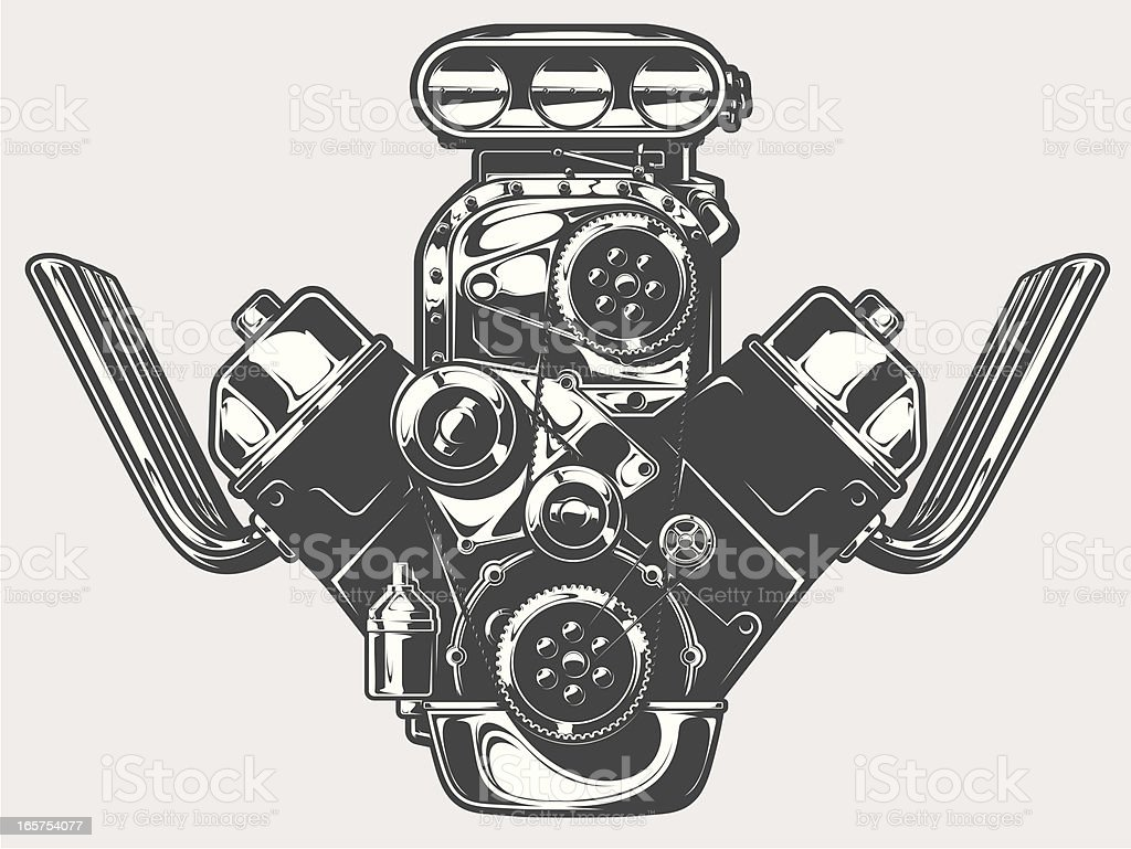 dragster engine vector art illustration