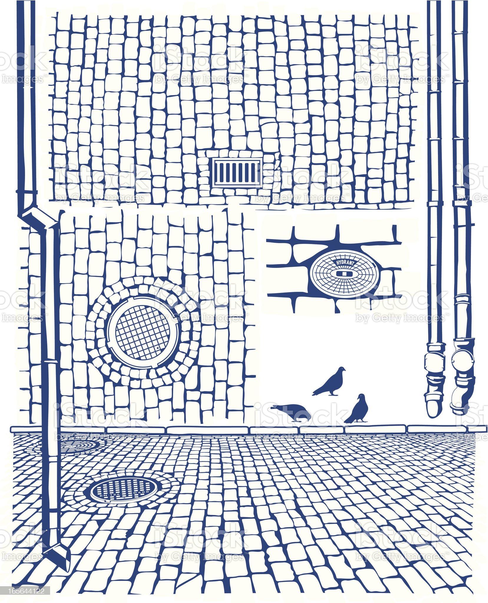 Drains & Cobbles royalty-free stock vector art