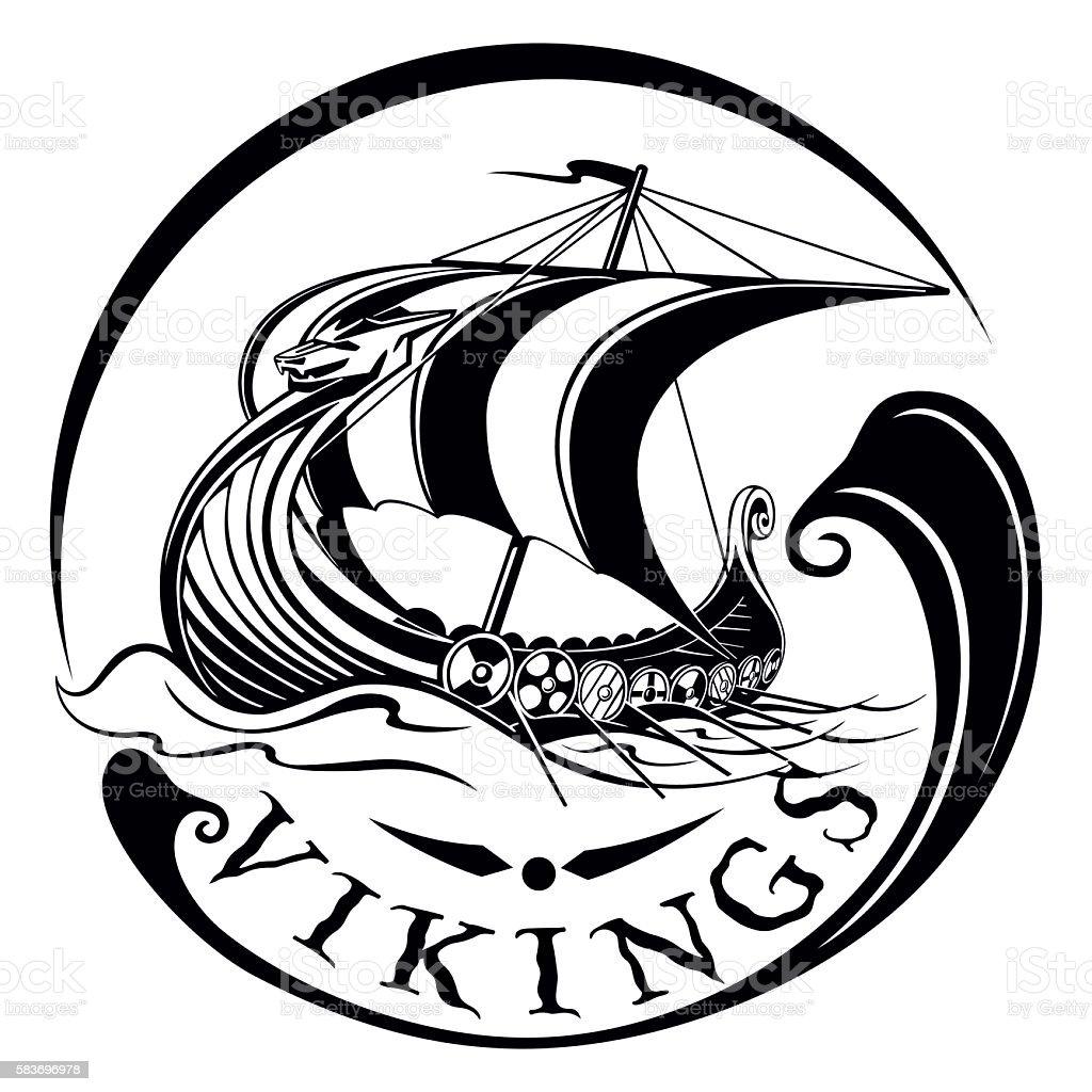 Drakkar, boat Viking, vintage sailing warship, vector illustration vector art illustration