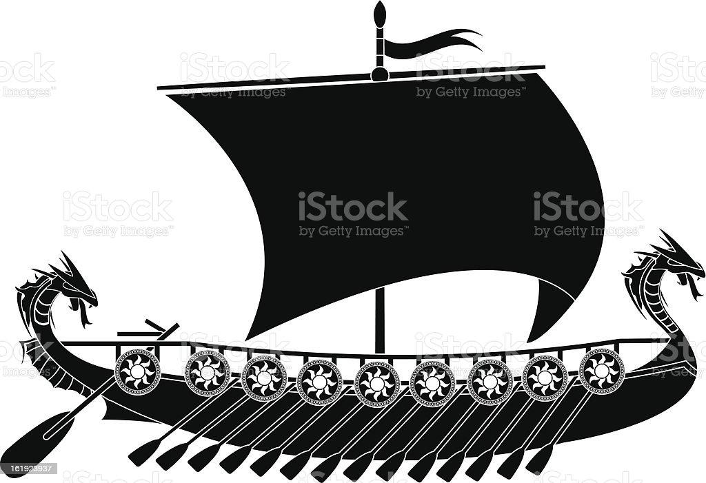 drakkar viking vector art illustration