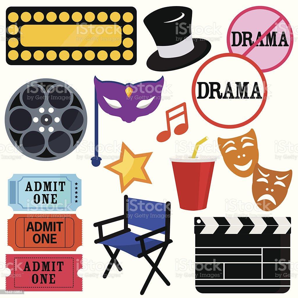 (vector Icons) : Drama, Entertainment, Film, movie royalty-free stock vector art