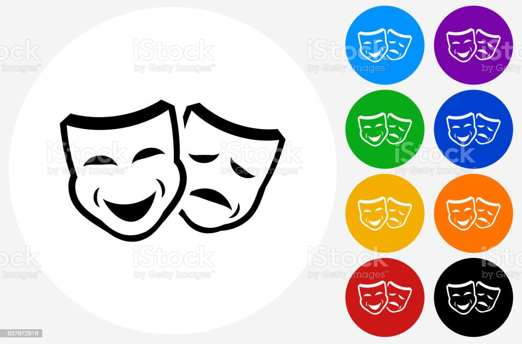 Drama Masks Icon on Flat Color Circle Buttons vector art illustration