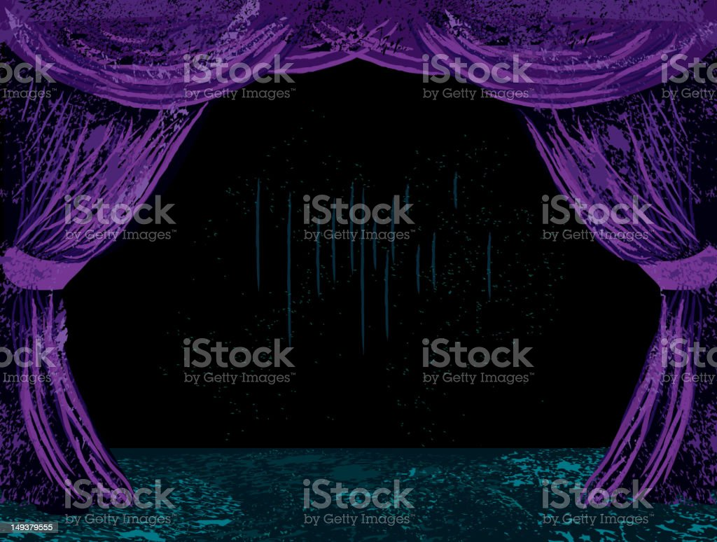 Dramatic purple theatre curtains and stage royalty-free stock vector art