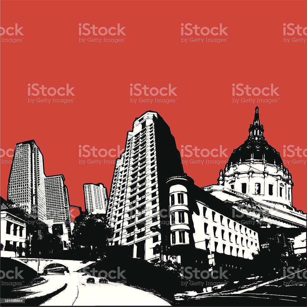 Dramatic urban scene royalty-free stock vector art