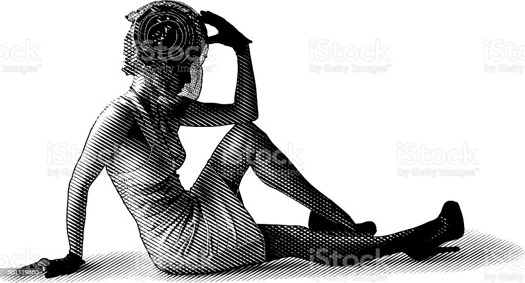 Dramatic Vintage Fashion Diva Sitting On Floor vector art illustration
