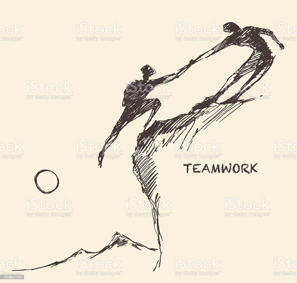 Draw helping man climb teamwork partnership sketch vector art illustration