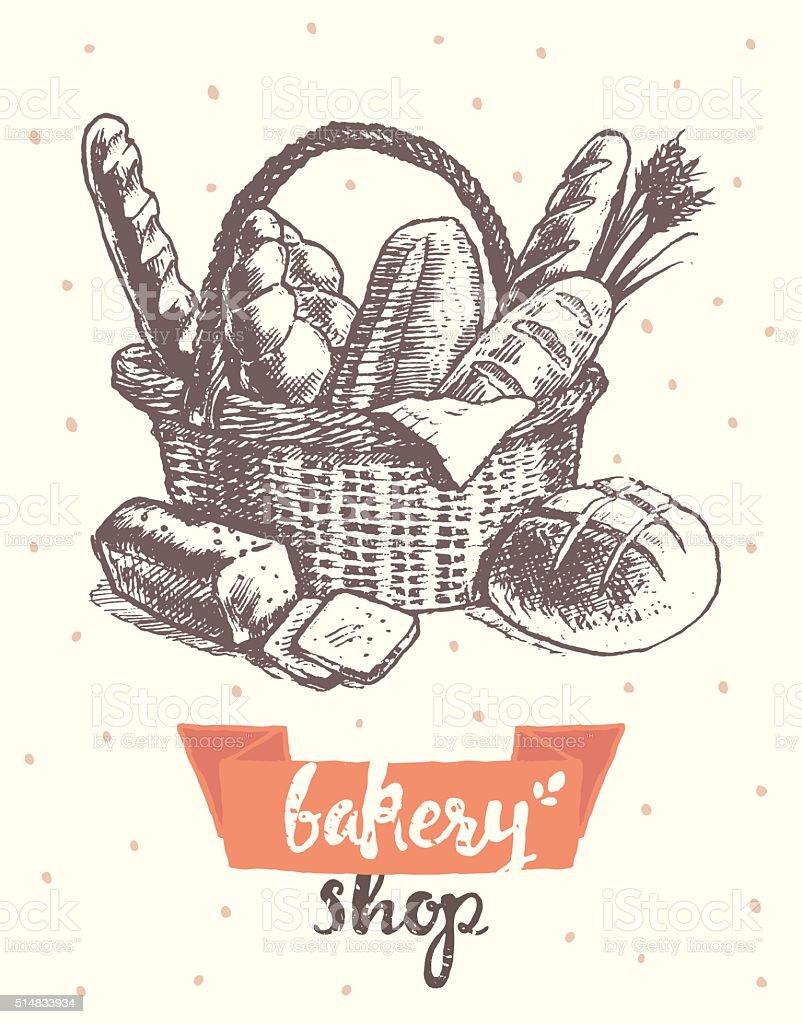 Draw vintage vector basket fresh bread bakery shop vector art illustration