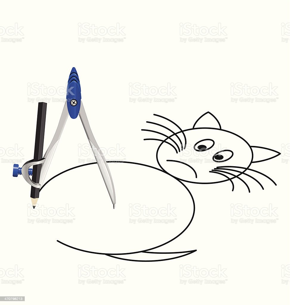 Drawing a Cat royalty-free stock vector art