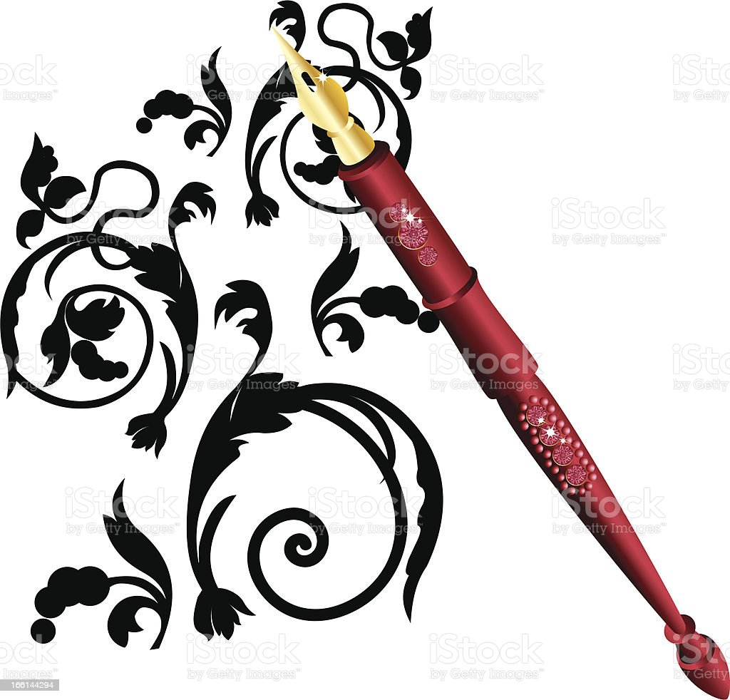 Drawing a fountain pen royalty-free stock vector art