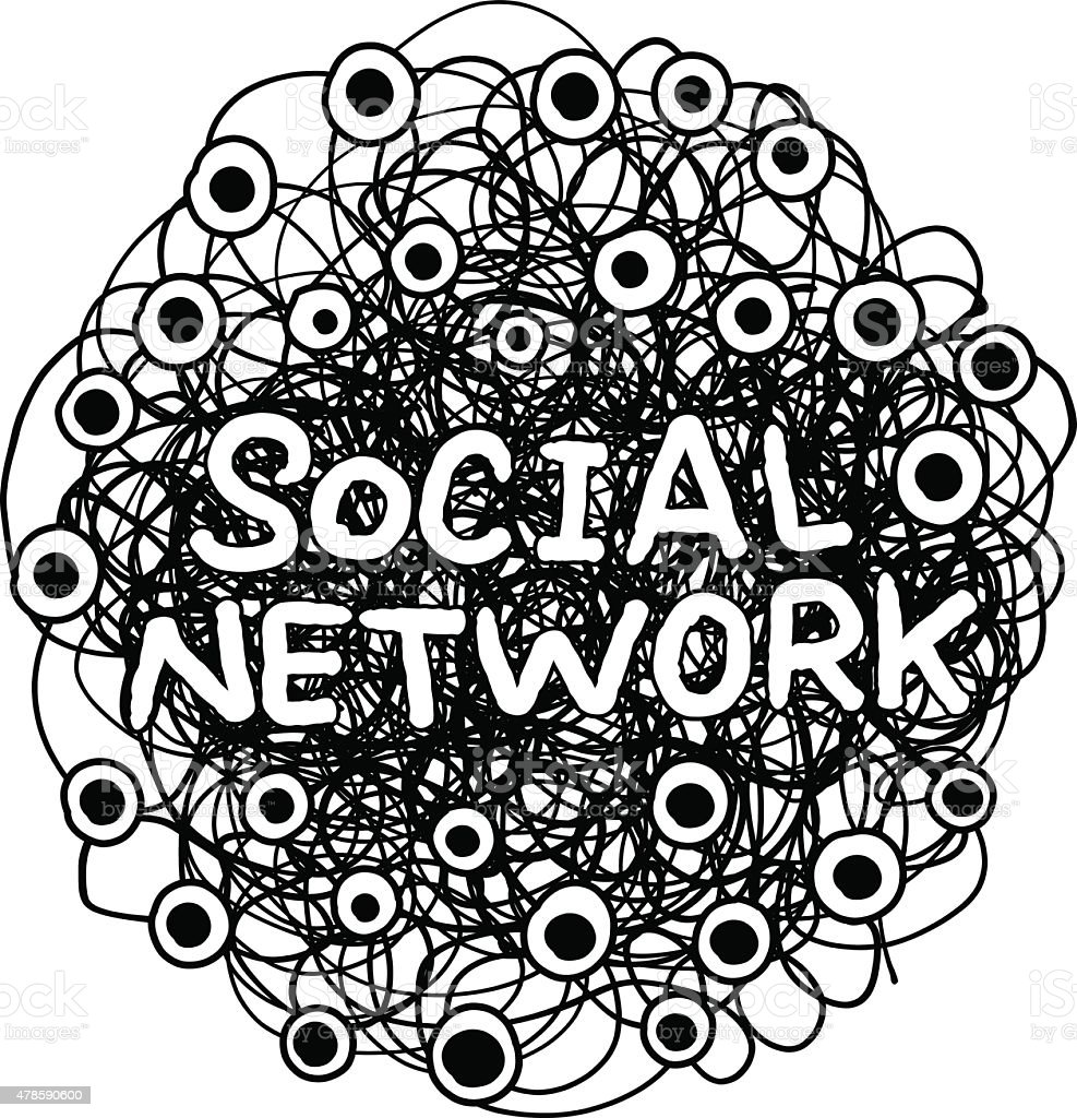 Drawing and Concept of Social Network vector art illustration