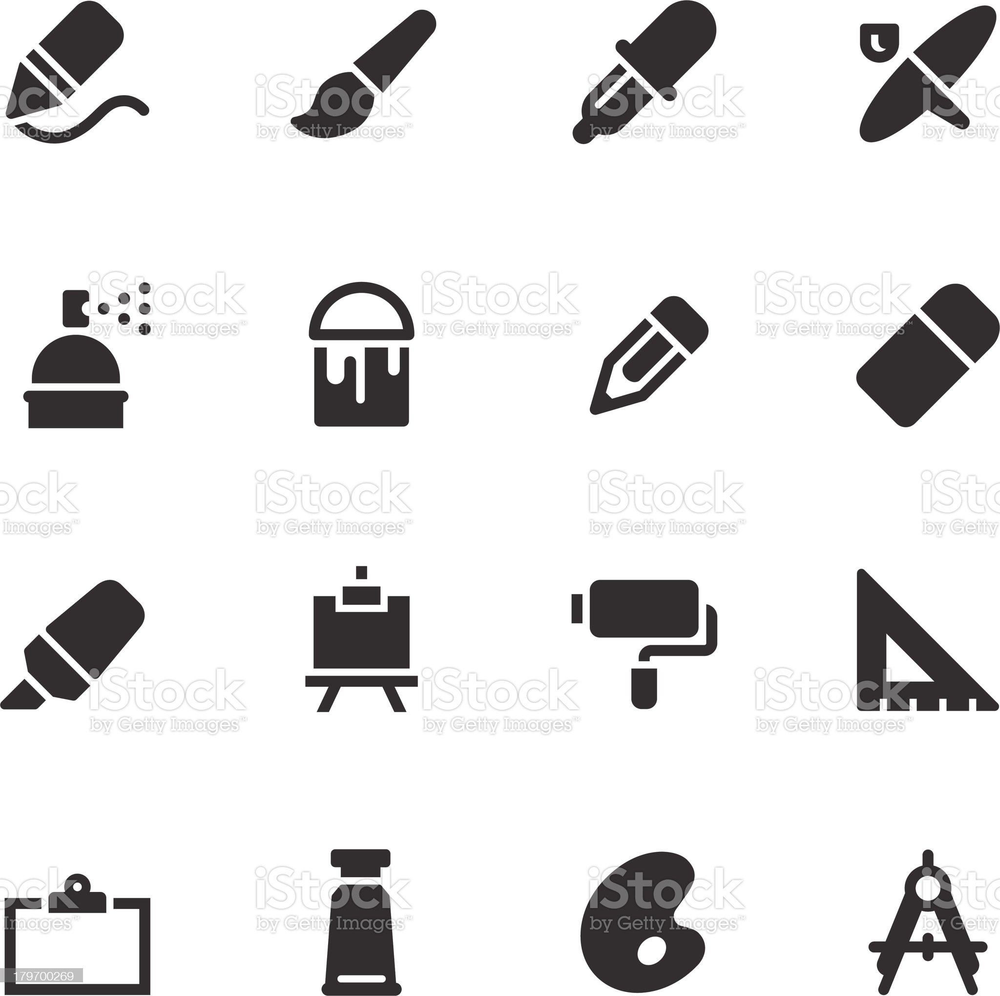 Drawing and Painting Icons - Black Series royalty-free stock vector art