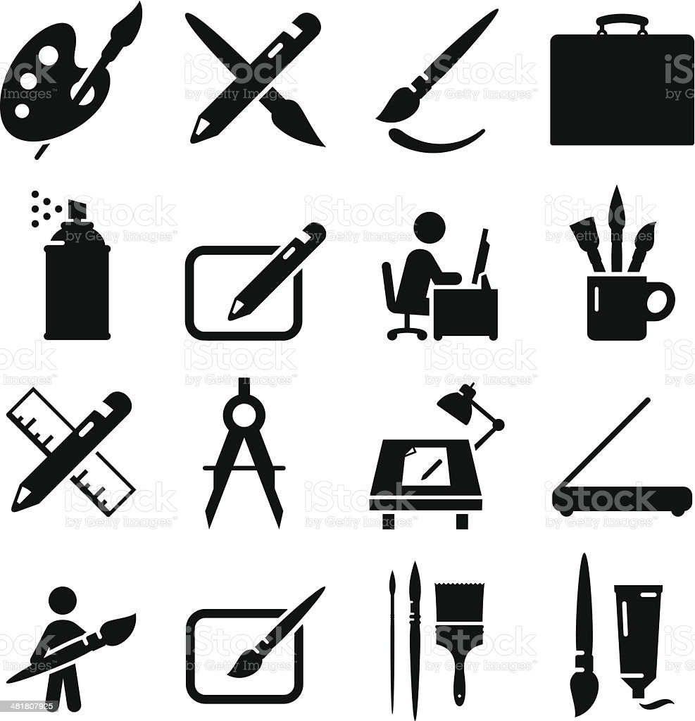 Drawing and Painting Icons - Black Series vector art illustration