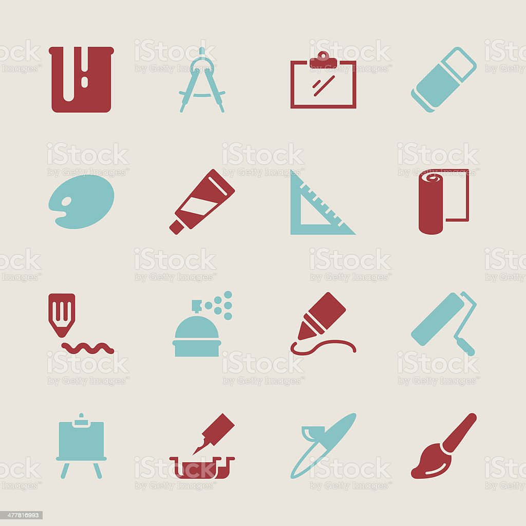 Drawing and Painting Icons - Color Series | EPS10 royalty-free stock vector art