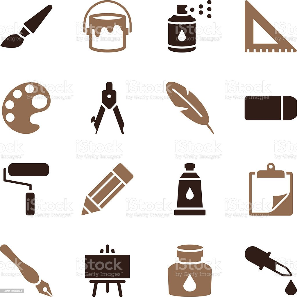 Drawing and Painting Icons   Color Series vector art illustration